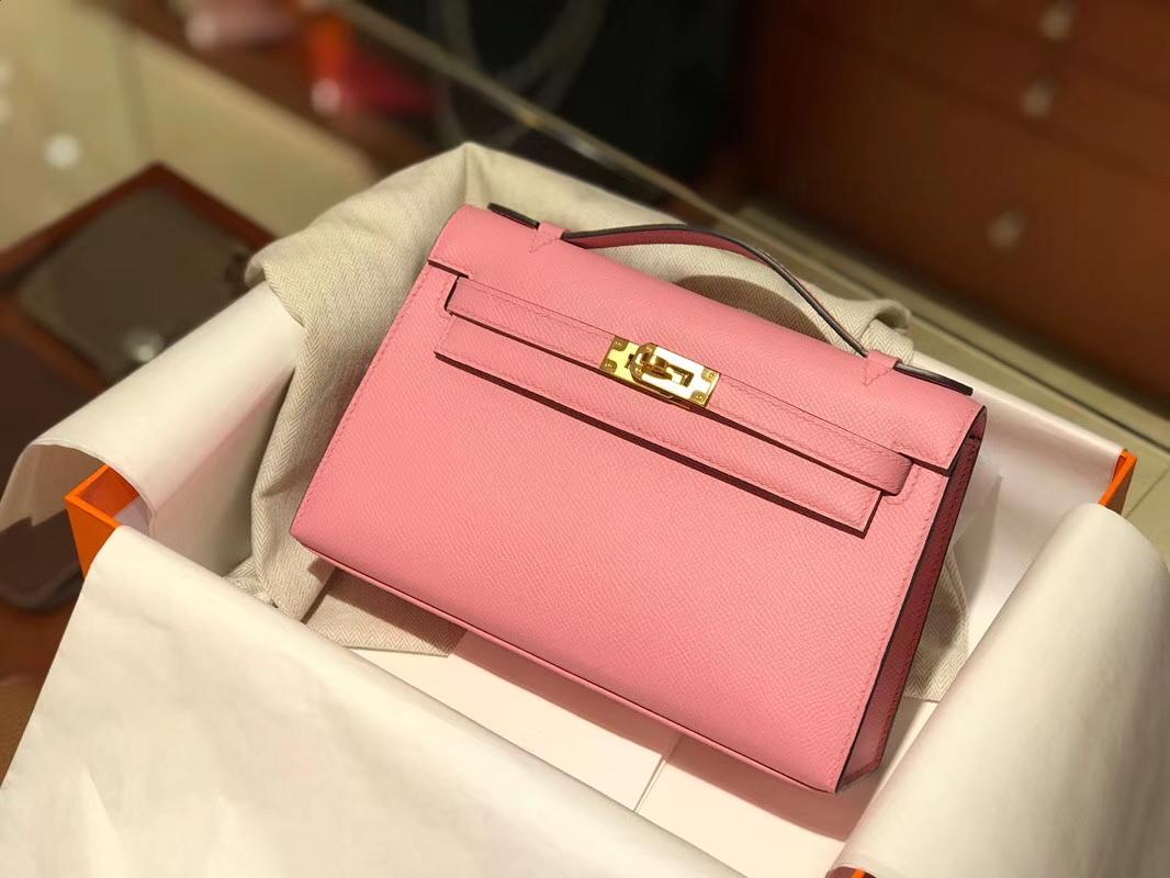 HERMES Mini Kelly 22cm 手拎包 3Q 奶昔粉