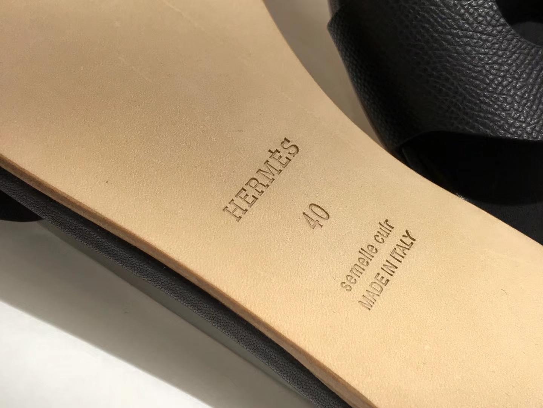 HERMES 爱马仕 猪鼻子拖鞋高端订制独家品质黑色