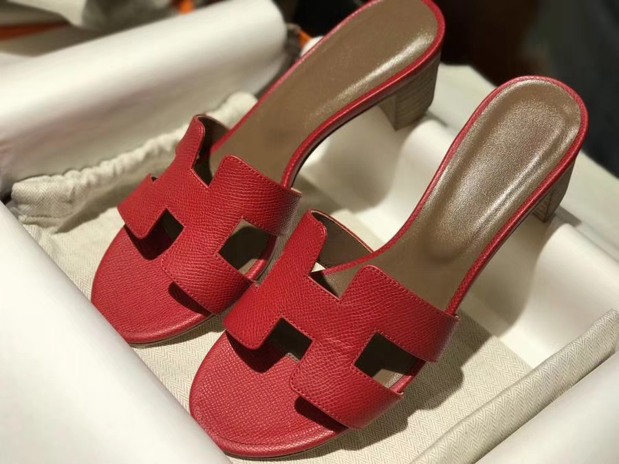 H经典中跟拖鞋高端订制独家品质 H红 爱马仕红 同步专柜