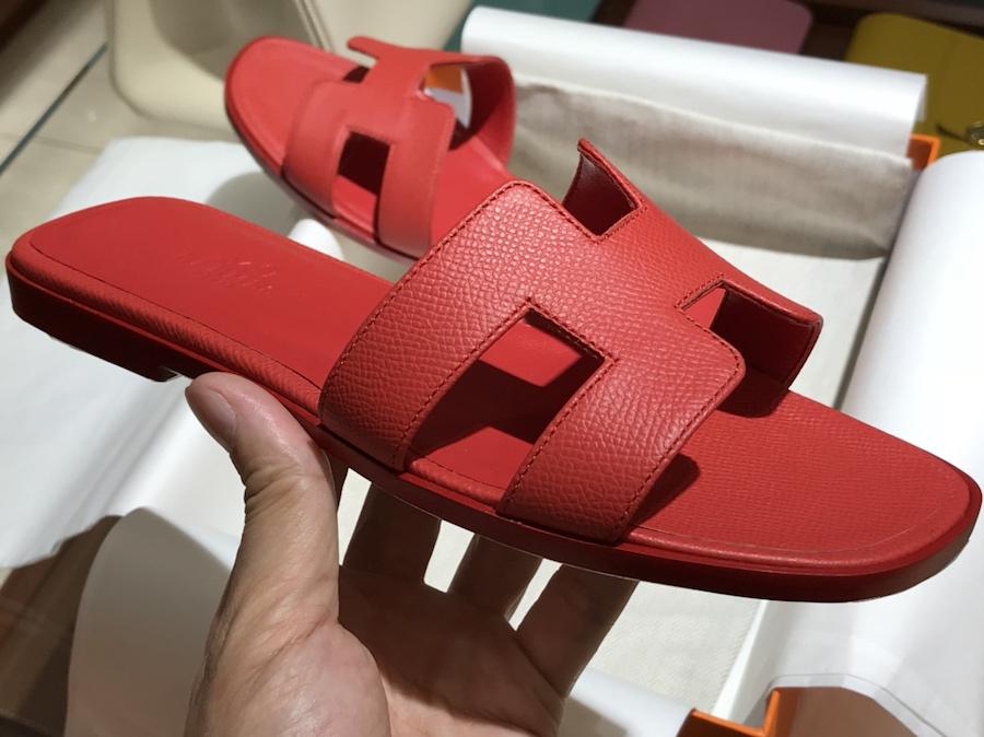 Hermes 经典款拖鞋高端订制独家品质 中国红同色底 Epsom