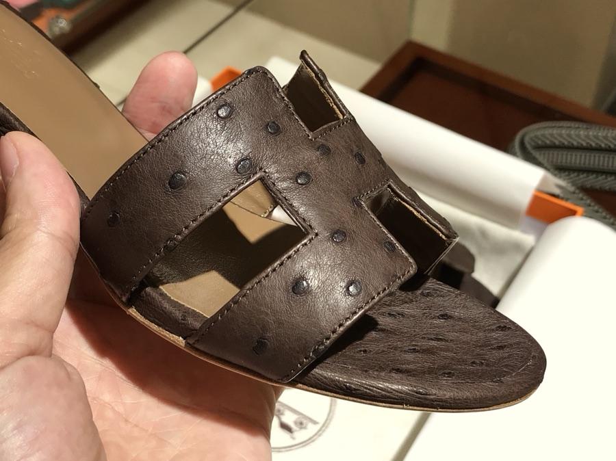 Hermes 鸵鸟皮拖鞋 Ostrich leather 深咖啡 独家品质