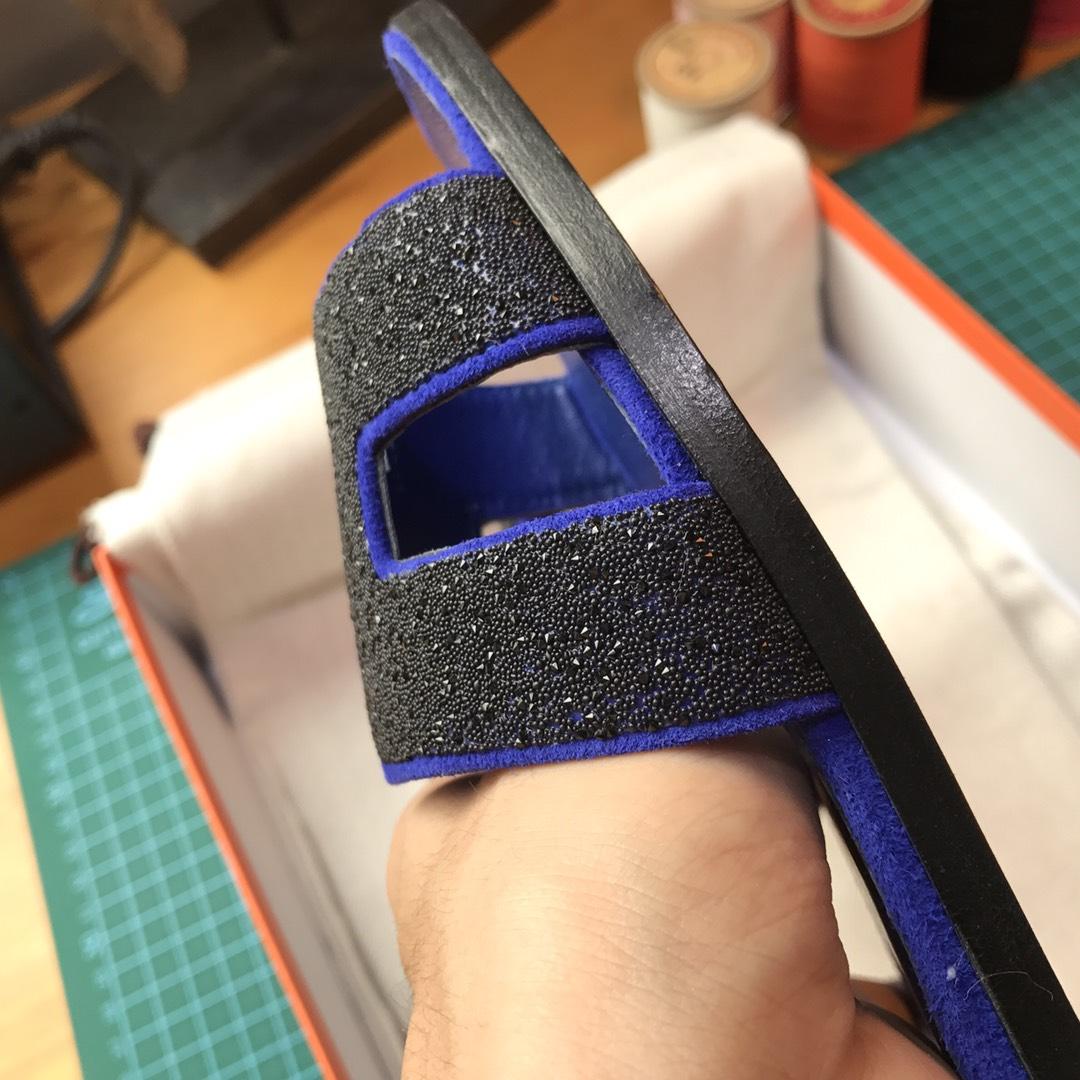 Hermes 女士拖鞋 电光蓝 亮晶晶 中跟平底都有 接受预定35-40