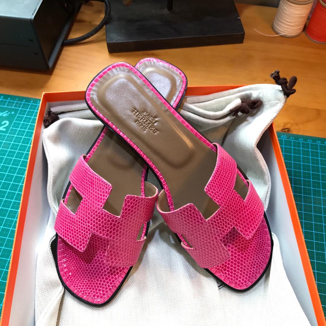 Hermes 平底拖鞋蜥蜴皮 E5 Rose Tyrien糖果粉色35-39