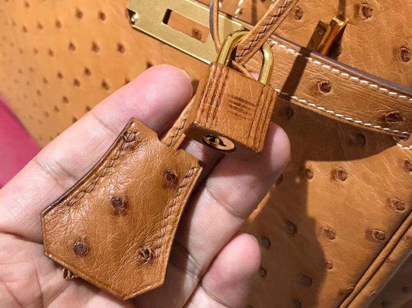 HERMES 爱马仕 铂金包 Birkin 30cm 鸵鸟皮 金棕色 C47 金银扣都可以定制