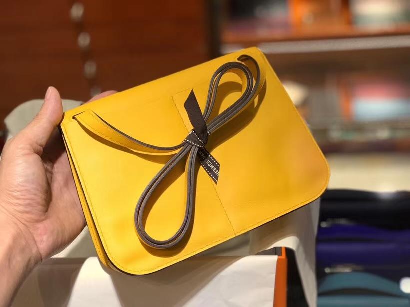 HERMES 爱马仕 Halzan swift 银扣 配全套专柜原版包装 琥珀黄