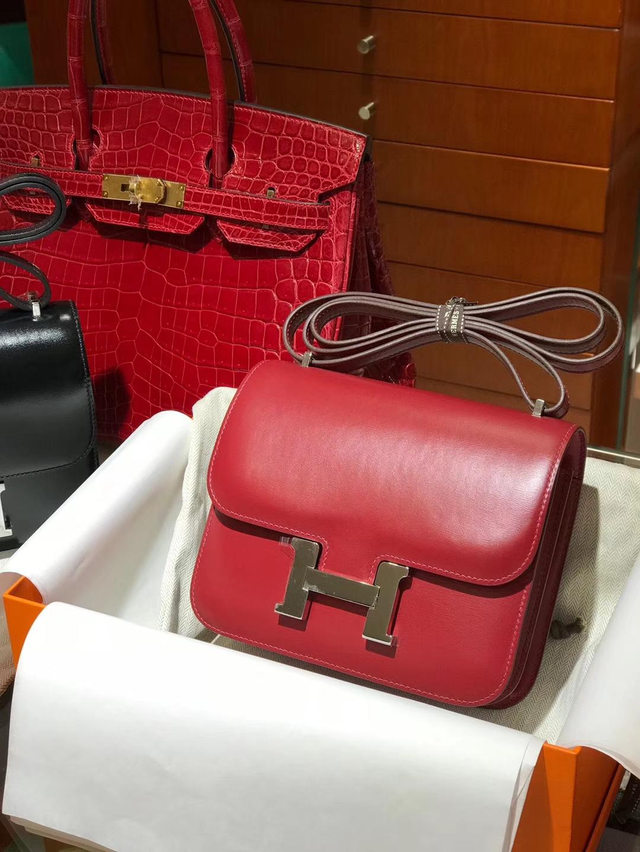 HEMRES 爱马仕 空姐包 Constance BOX 中国红 银扣 配全套专柜原版包装