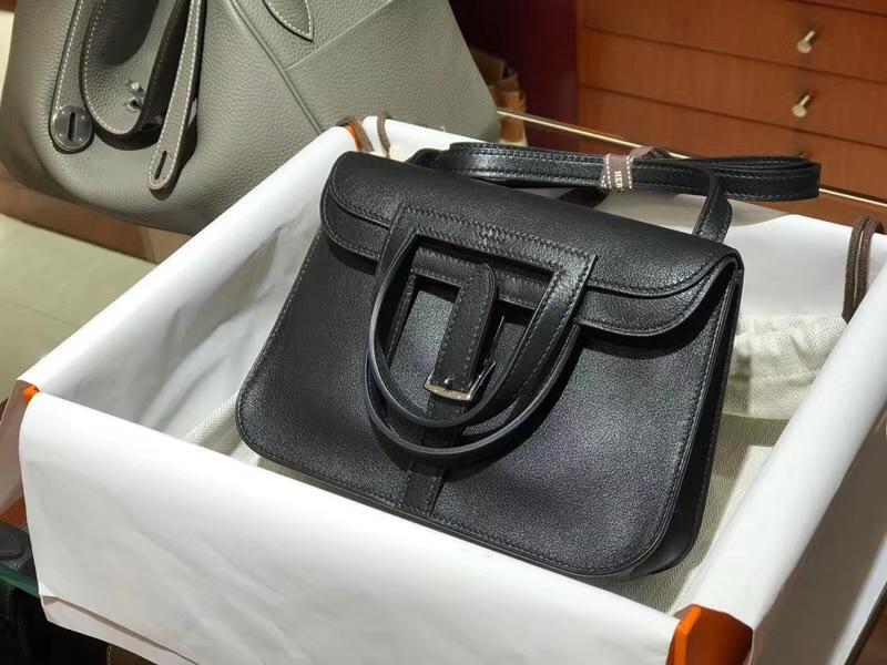 HERMES 爱马仕 Halzan swift 黑色 21cm 配全套专柜原版包装