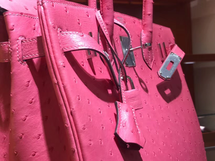 HERMES 爱马仕 铂金包 Birkin 30cm 鸵鸟皮 唇膏粉 U5 Rose elipstick 金银扣都可以定制