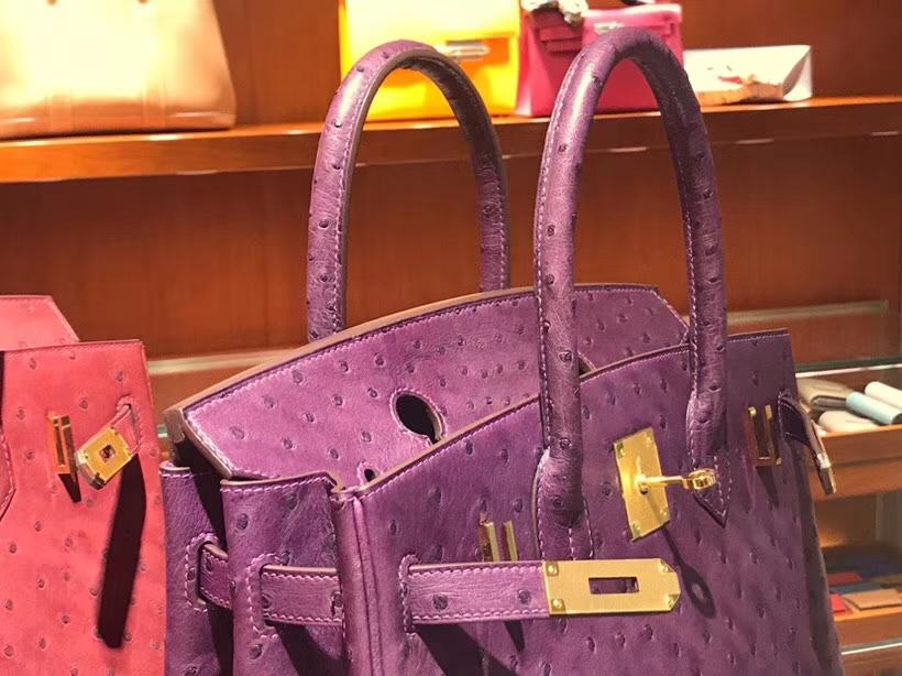 HERMES 爱马仕 铂金包 Birkin 30cm 鸵鸟皮 海葵紫 P9 Anemone 金银扣都可以定制