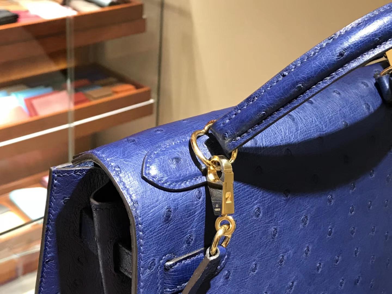 HERMES 爱马仕 凯莉包 Kelly 25cm 28cm 鸵鸟皮 玛尔塔兰  金银扣 配全套专柜原版包装