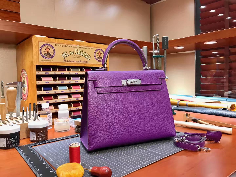 Kelly 28CM 现货系列 配全套专柜原版包装 5L 梦幻紫 极度紫 Ultra Violet  Epsom皮 爱马仕HERMES
