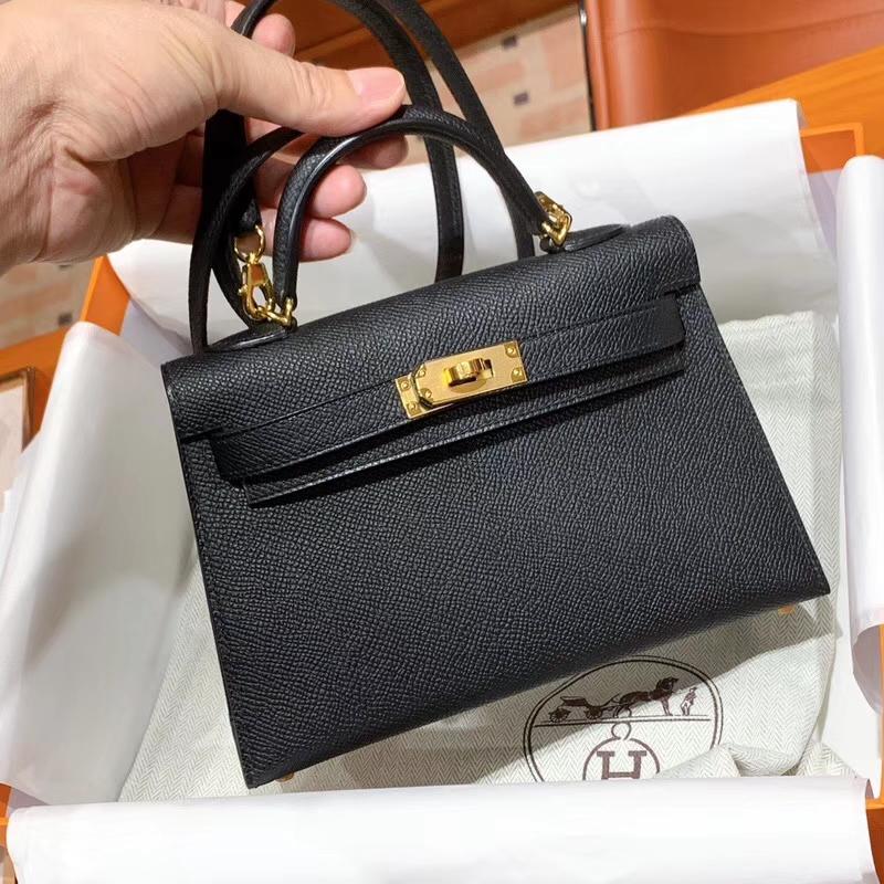 爱马仕 HERMES MiniKelly 2  Epsom 黑色 配原版正品全套包装 金银扣可定制