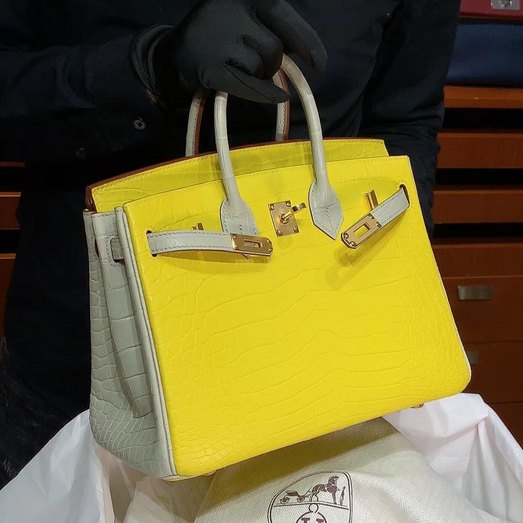HERMES 爱马仕 铂金包 Birkin 原厂鳄鱼 纯手工 柠檬黄拼风衣灰 金扣 配专柜全套包装