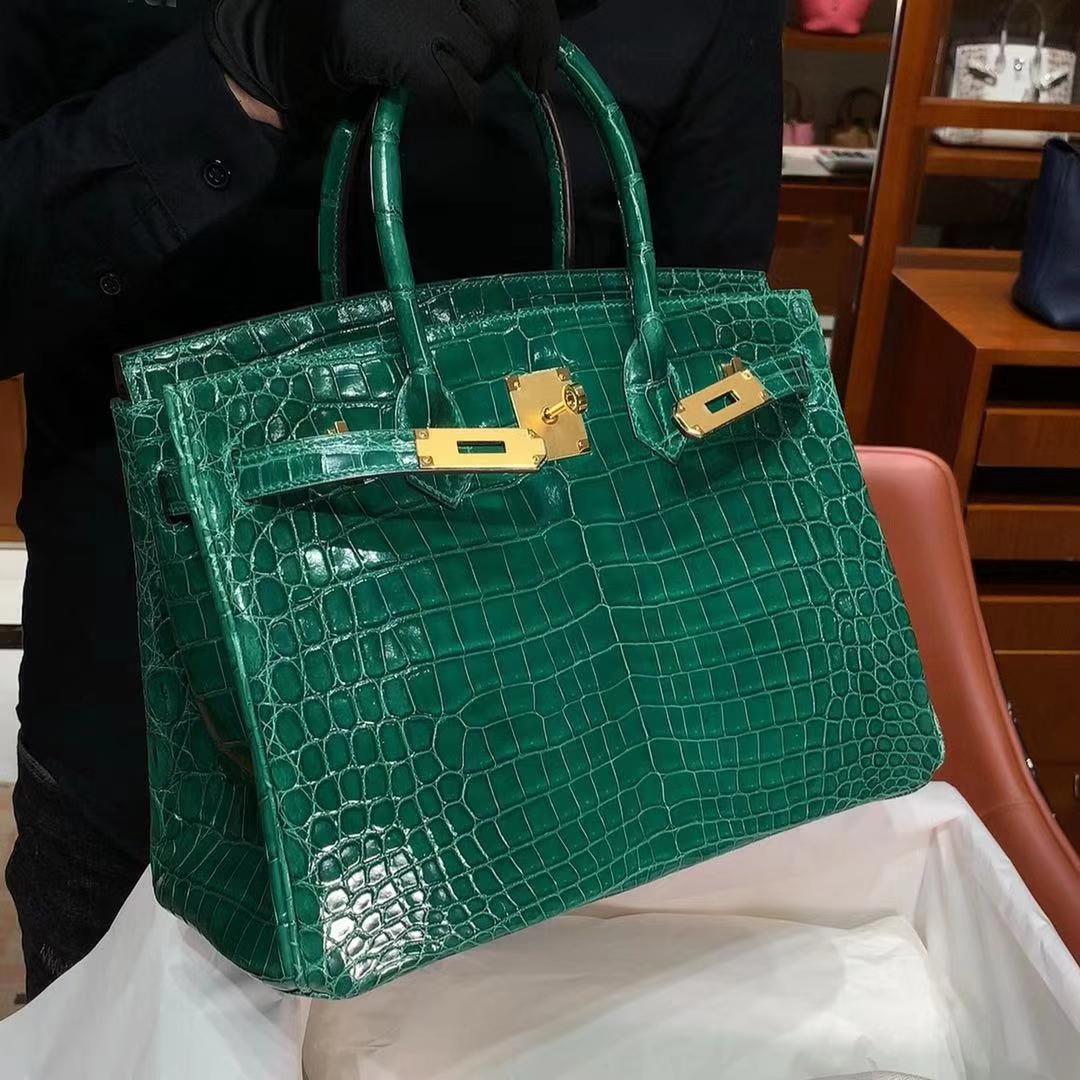HERMES 爱马仕 铂金包 Birkin 原厂鳄鱼 纯手工 祖母绿 金扣 配专柜全套包装