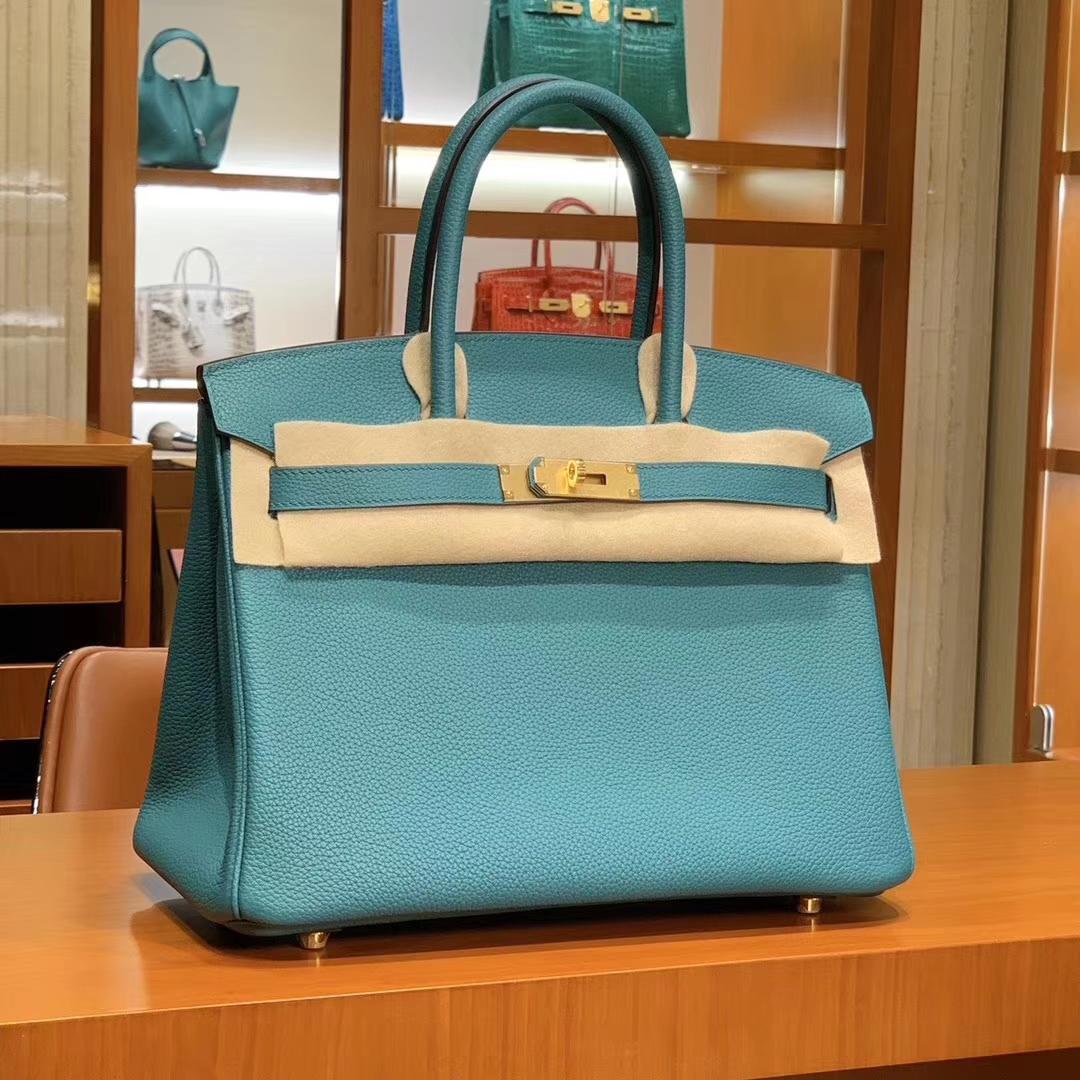 爱马仕 HERMES 铂金包 Birkin 25cm 30cm 孔雀蓝 配全套专柜原版包装 全球发售