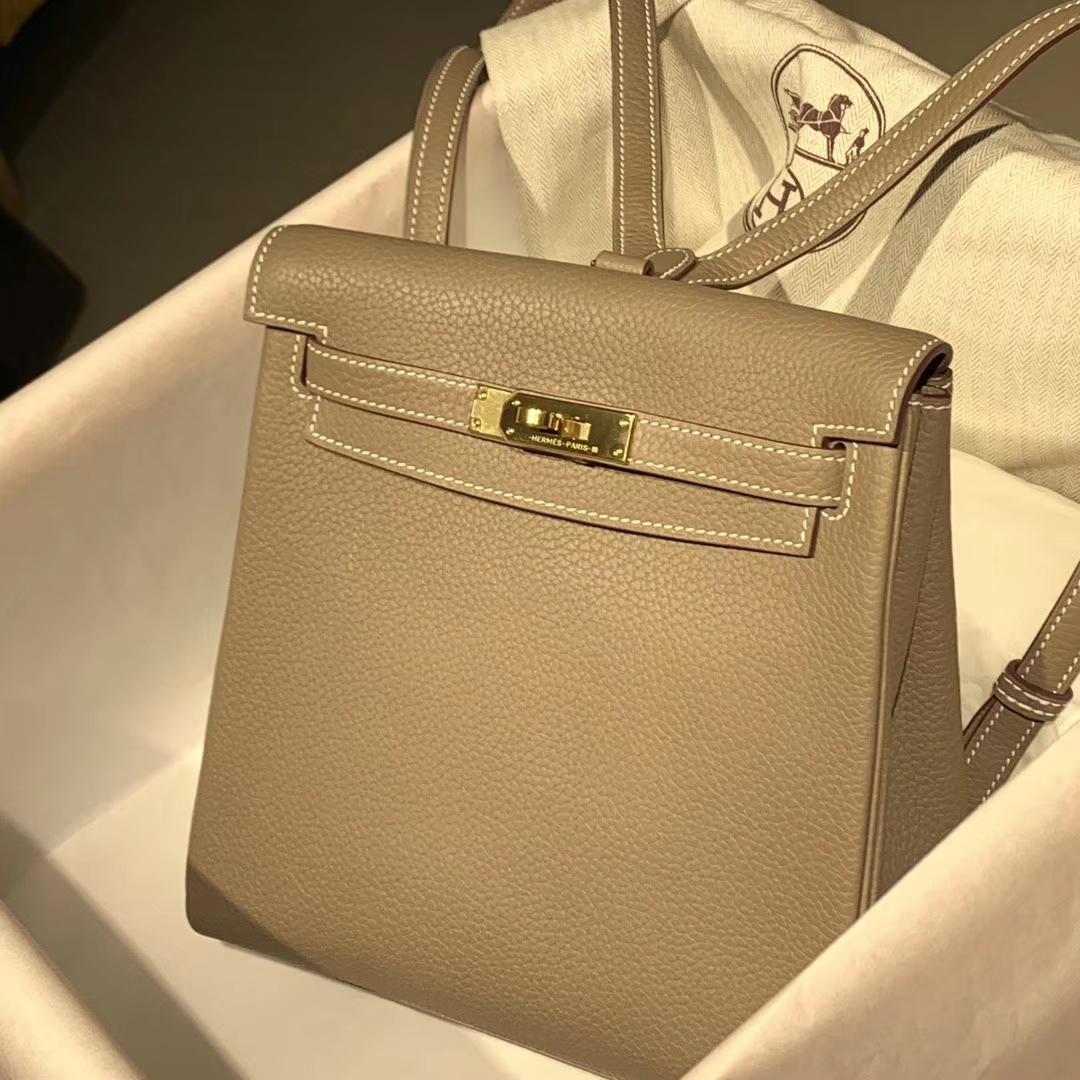 Hermes 珍珠灰 银扣 Kellyado背包 原厂皮