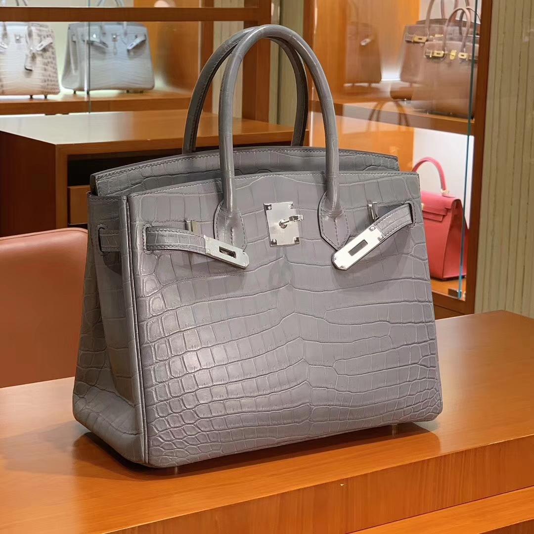 爱马仕 HERMES 铂金包 Birkin 25cm 30cm 哑光鳄鱼皮 珍珠灰 配全套专柜原版包装 全球发售