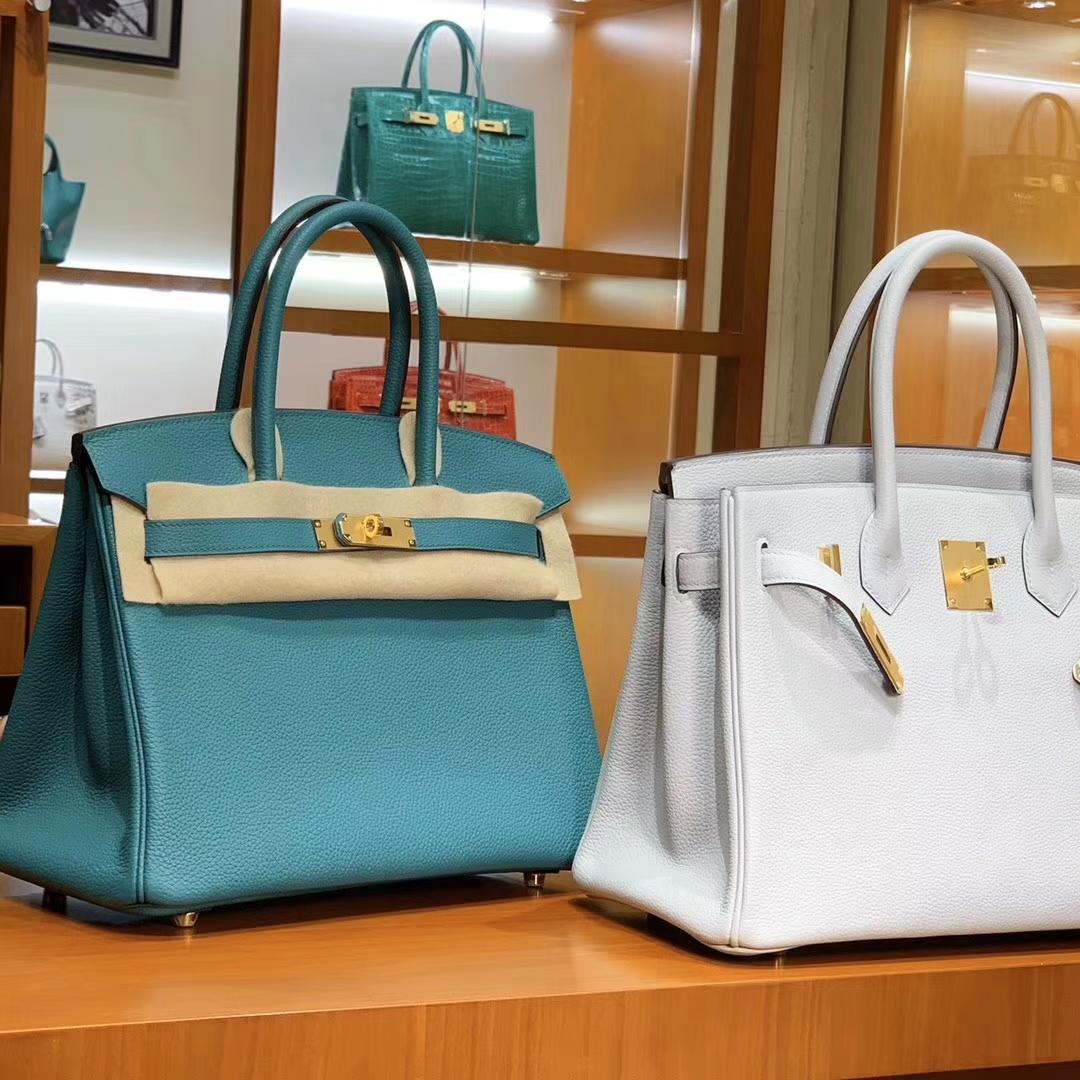 爱马仕 HERMES 铂金包 Birkin 25cm 30cm 孔雀绿 白色 配全套专柜原版包装 全球发售