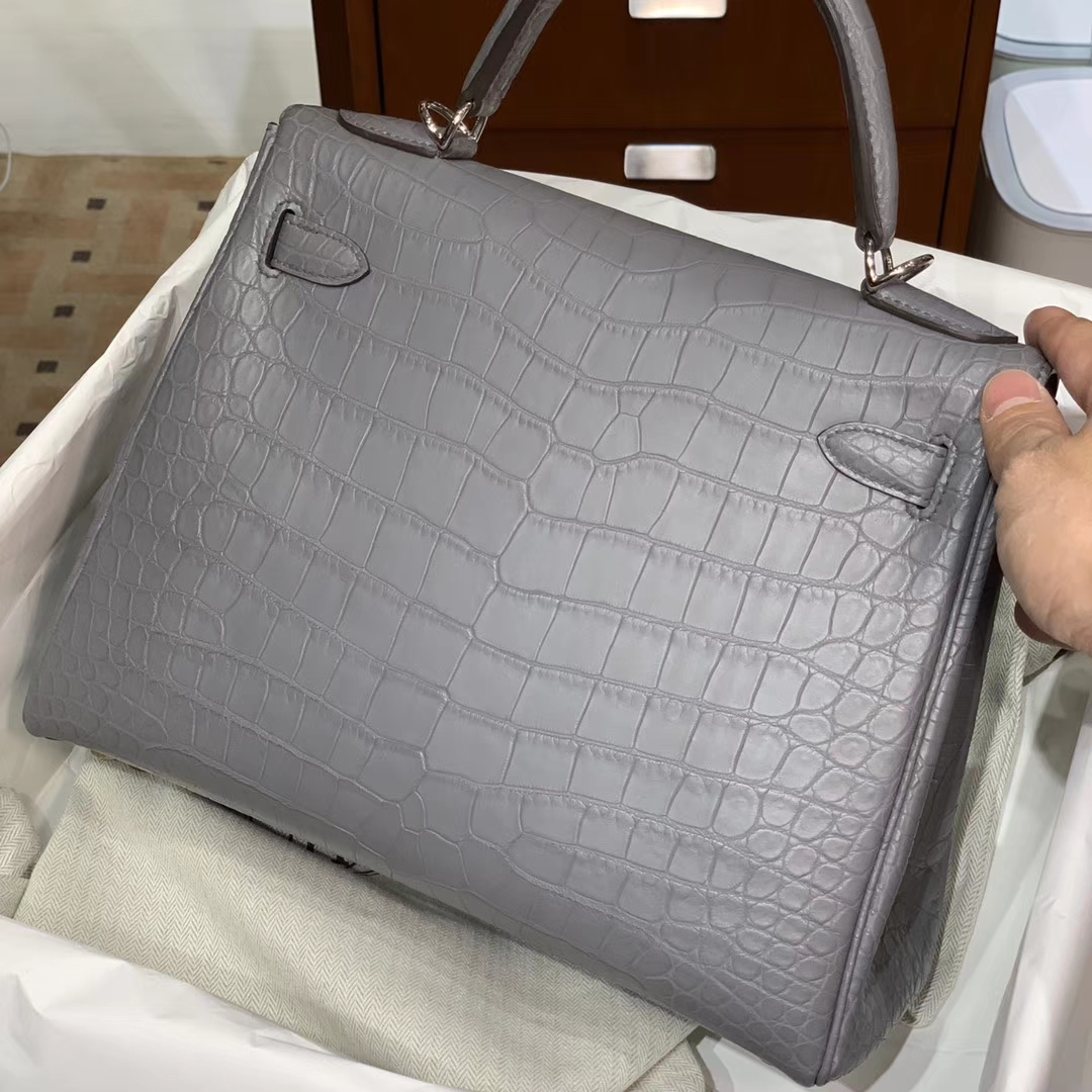 HERMES 爱马仕 原厂鳄鱼 纯手工 灰色 配专柜全套包装