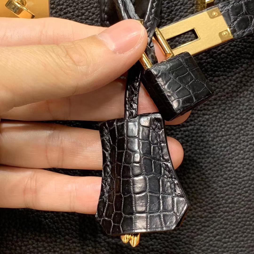 HERMES 爱马仕 Birkin 25/30 Togo 拼鳄鱼皮 黑色 配专柜全套包装