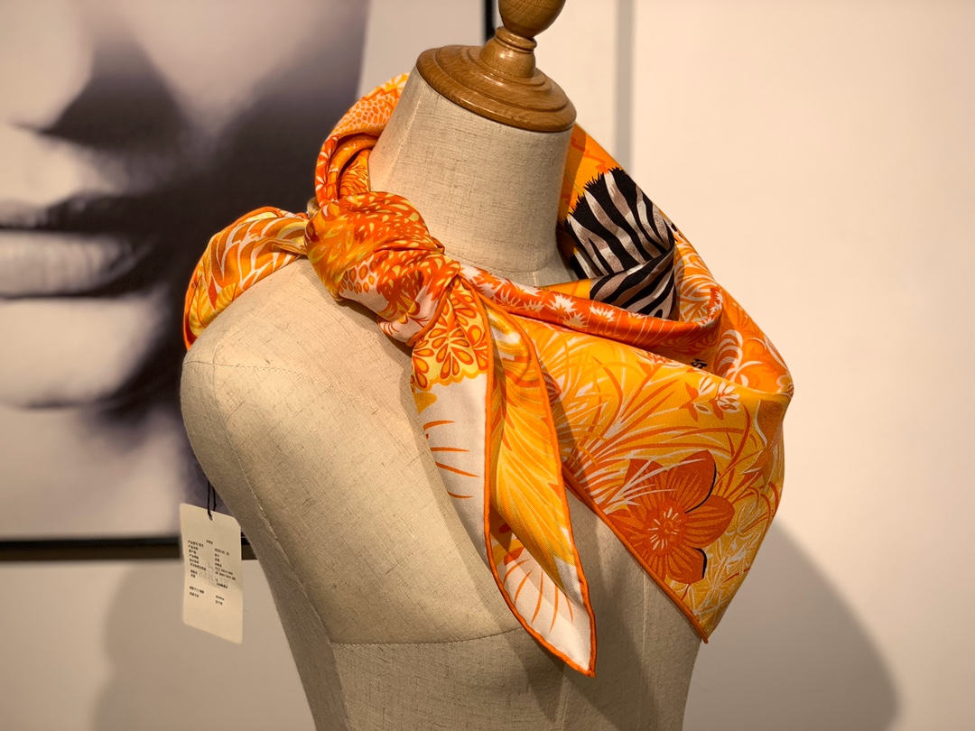 2020年春季新款斜纹真丝方巾 《林中斑马》 90*90cm 黄色18姆米