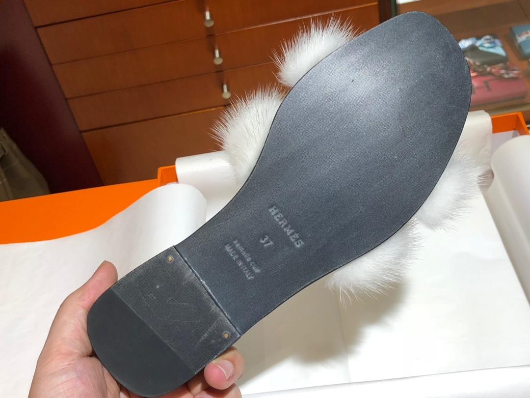爱马.仕 新款水貂毛拖鞋 水貂毛鞋面 帆布款鞋垫脚 平跟35~41(正常码数)