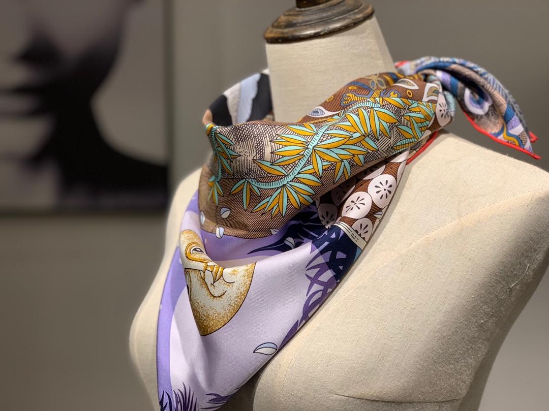 H 方巾《仲夏夜之梦》紫色 90×90cm 100%斜纹桑蚕丝