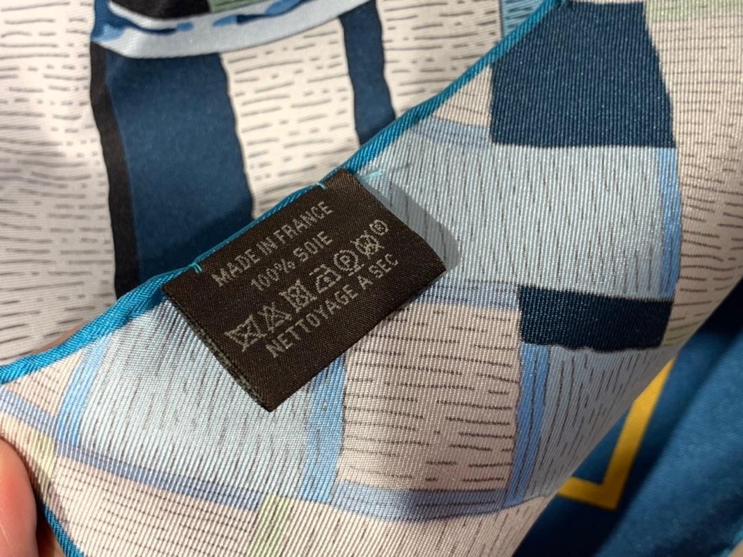 H 新款方巾 《马嚼锁环》 蓝色 90.90cm 100%斜纹真丝 全套包装