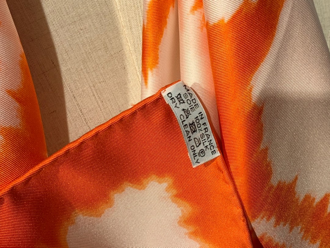 〈 叠影华丽的缰辔 〉橘色 · - 90×90cm 100%真丝 18mm