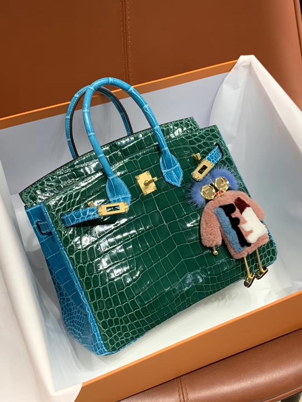 爱马仕包包价格 祖母绿拼婴儿蓝 鳄鱼皮 金扣 纹路清晰 手感超级好 完胜正品 Birkin 25/30