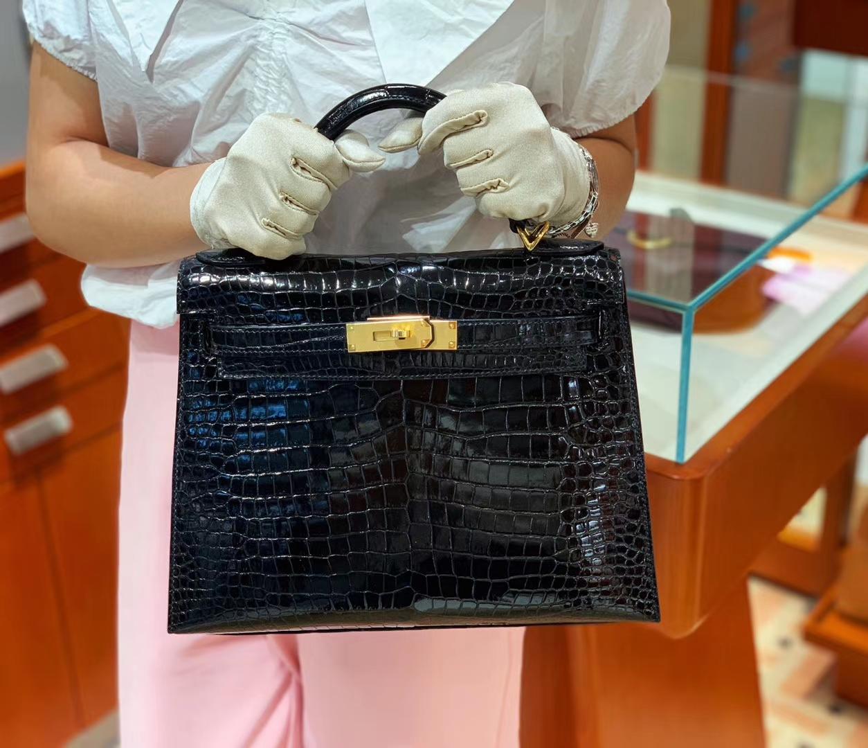 爱马仕包包价格 89黑色 鳄鱼皮 金扣 纹路清晰 手感超级好 完胜正品 Kelly 25/28cm