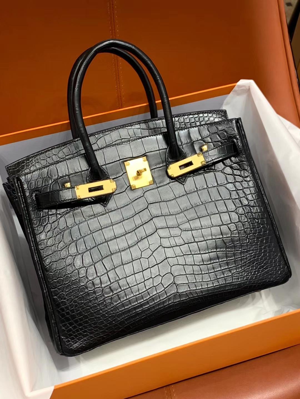 爱马仕包包价格 89黑色 鳄鱼皮 金扣 纹路清晰 手感超级好 完胜正品 Birkin 25/30