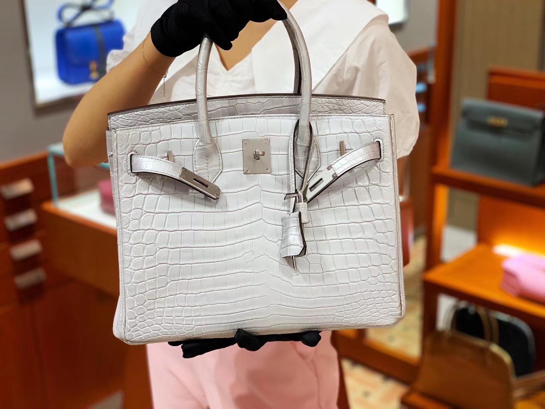 爱马仕包包价格 白色 鳄鱼皮 金扣 纹路清晰 手感超级好 完胜正品 Birkin 25/30