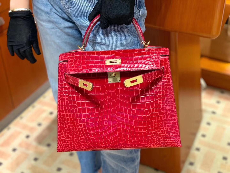 Kelly 极品 高光鳄鱼皮 好品相 最新S3心红色(比Q5亮一点) 实物非常非常非常~美