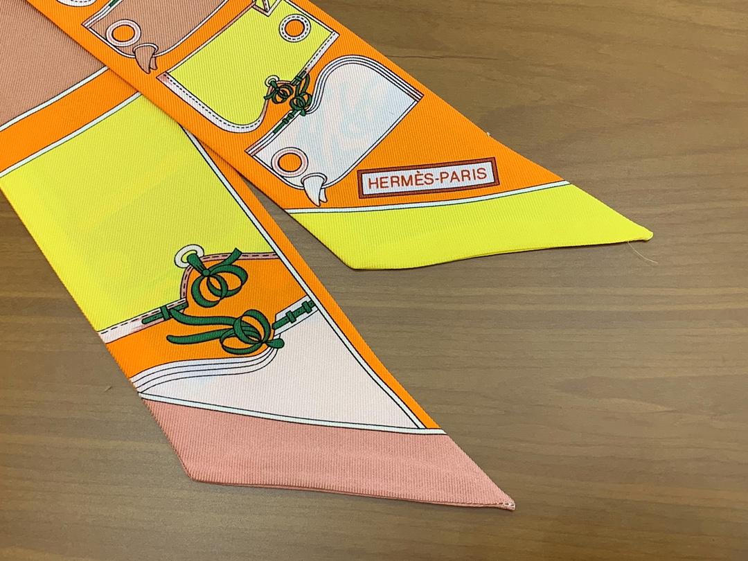 爱马仕小丝巾 Twilly 新款 最高版本 真丝 6*80cm 橙色