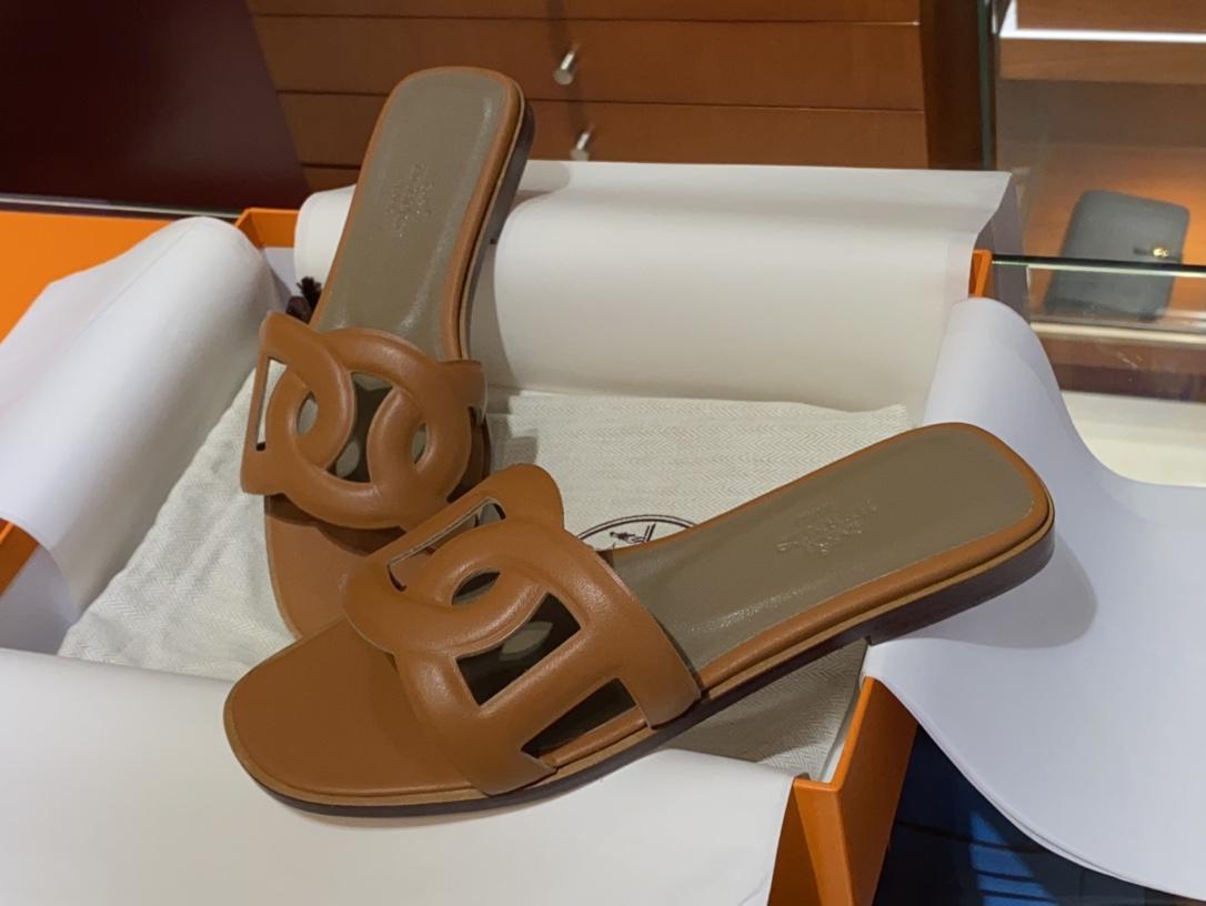 HMS环扣猪鼻子拖鞋高端订制独家品质全手工羊皮定制 平跟34~41(专柜只有平跟哈)焦糖色
