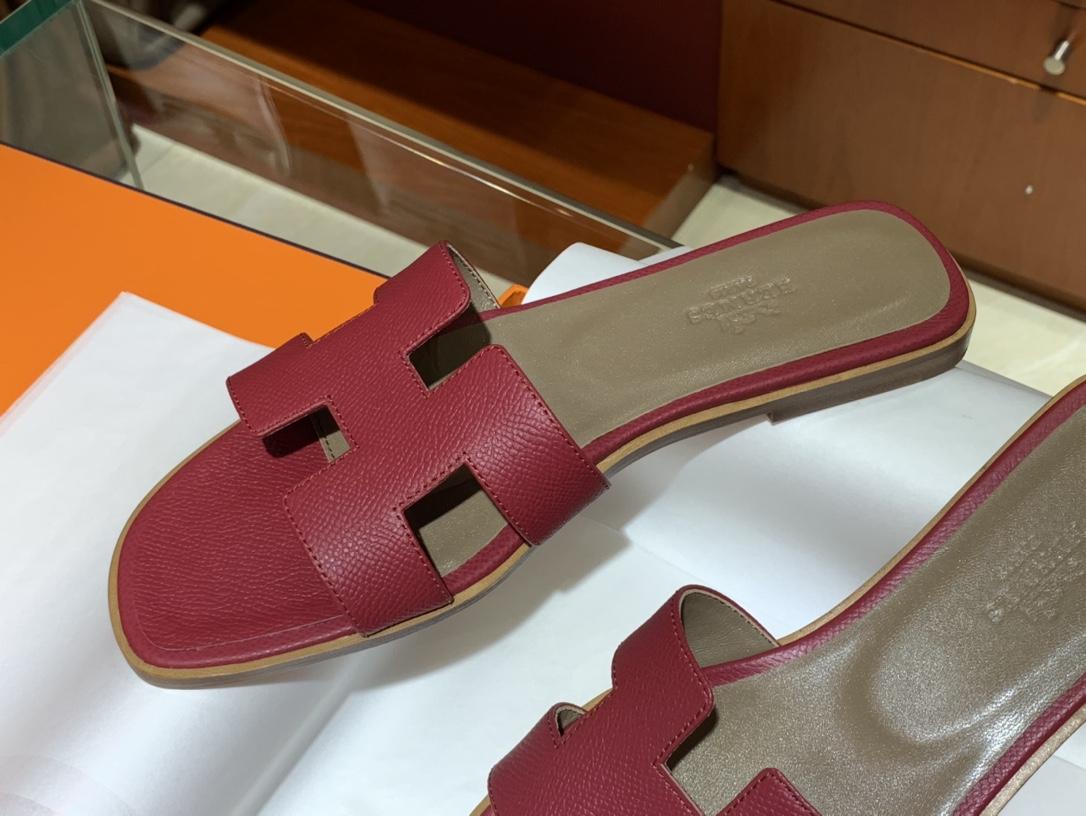H经典款拖鞋高端订制独家品质 平底35~41 高跟35~41(跟高4cm) 酒红色(掌纹)