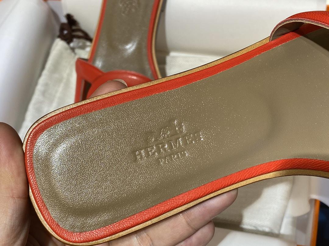 HMS环扣猪鼻子拖鞋高端订制独家品质全手工羊皮定制 平跟34~41(专柜只有平跟哈) 红色