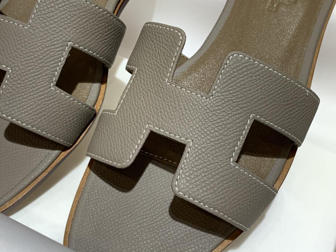 H经典款拖鞋高端订制独家品质 平底35~41 高跟35~41(跟高4cm) 沥青灰(掌纹)