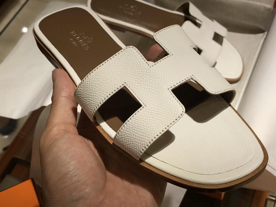 H经典款拖鞋高端订制独家品质 平底35~41 高跟35~41(跟高4cm) 白色 (掌纹)