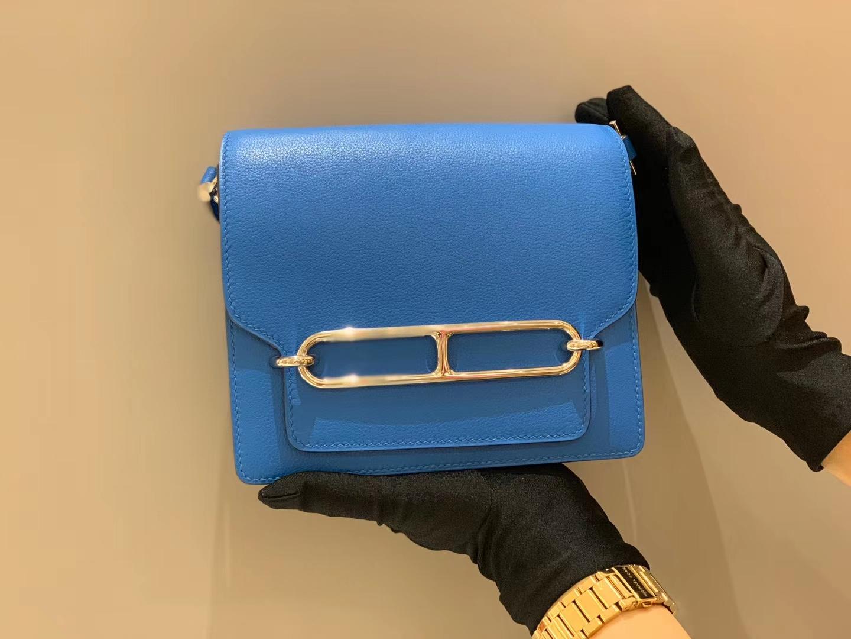 爱马仕中国官网 Roulis 18 Evercolor  7T Blue Hydra—水妖蓝