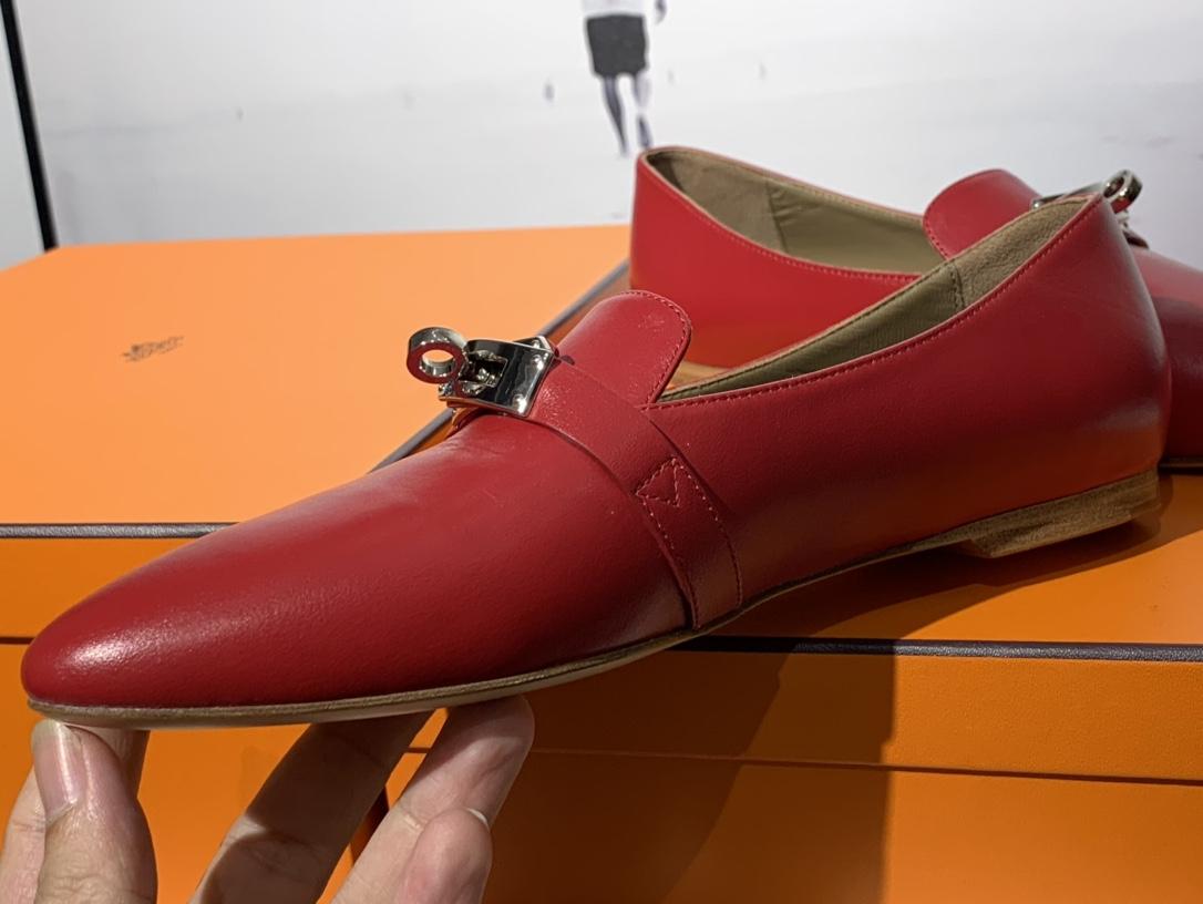 爱马仕 凯莉单鞋 纯手工制作 牛皮 35~41码 正码 码数不调换哈 中国红