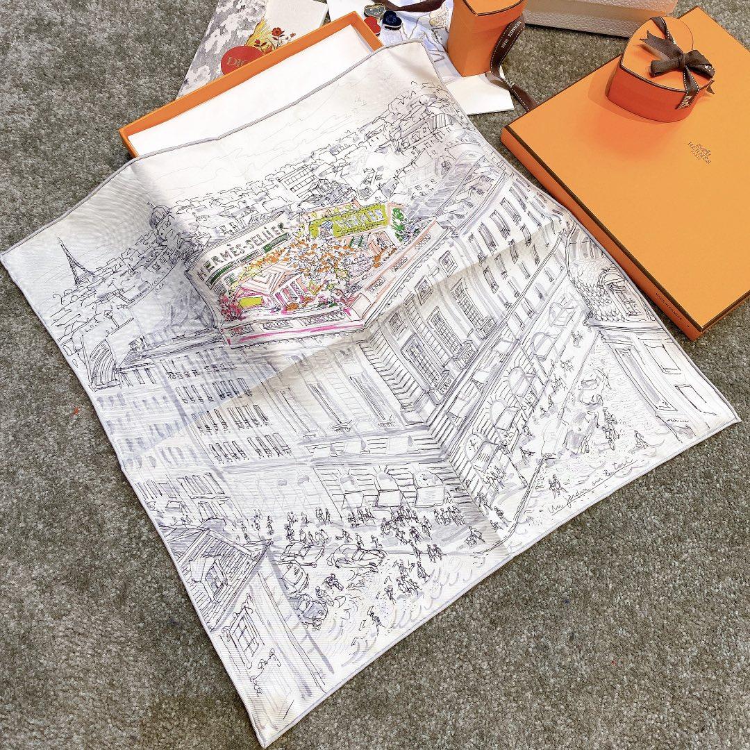 HERMES 《屋顶花园》45x45cm 小方巾 灰色