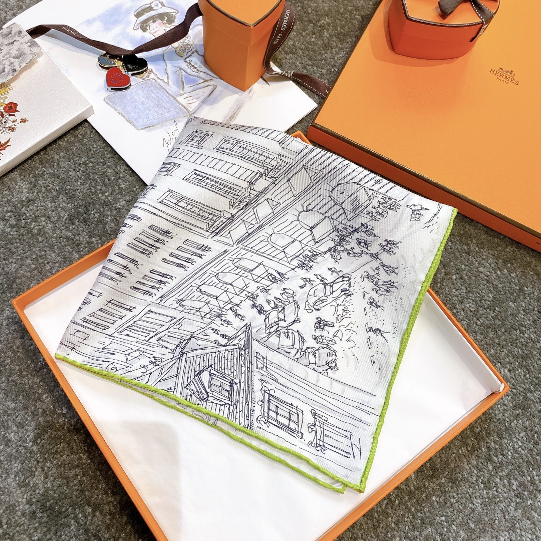 HERMES 《屋顶花园》45x45cm 小方巾 绿色